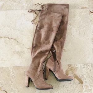 a new day Shoes - Taupe Block Heel Over the Knee / Thigh High Boots